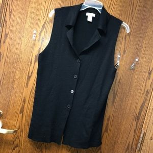 Black sleeveless sweater cardigan medium